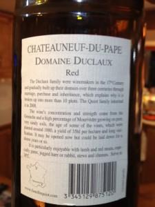 Chateauneuf du Pape Domaine Duclaux 2006 (2) (Small)